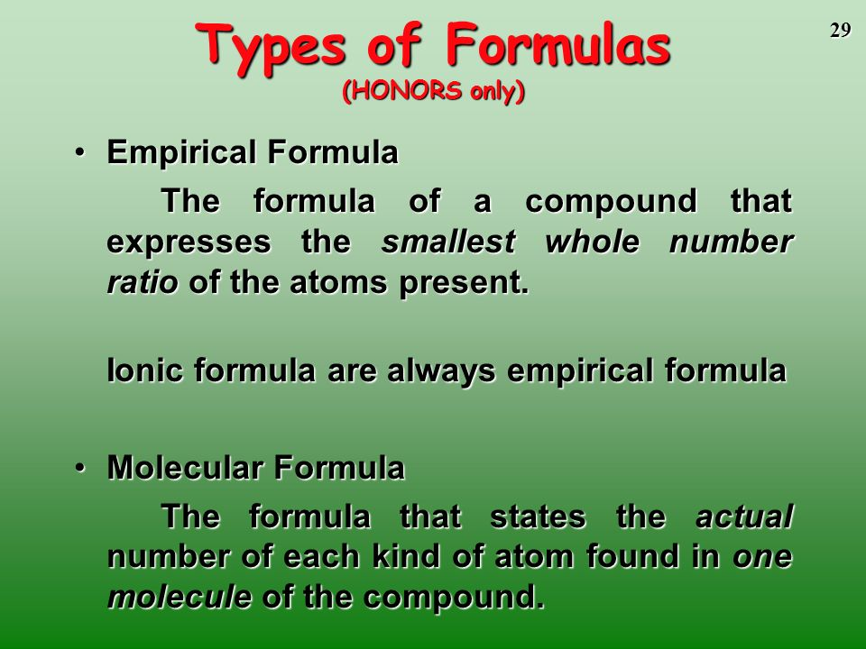 Types of Formulas (HONORS only)