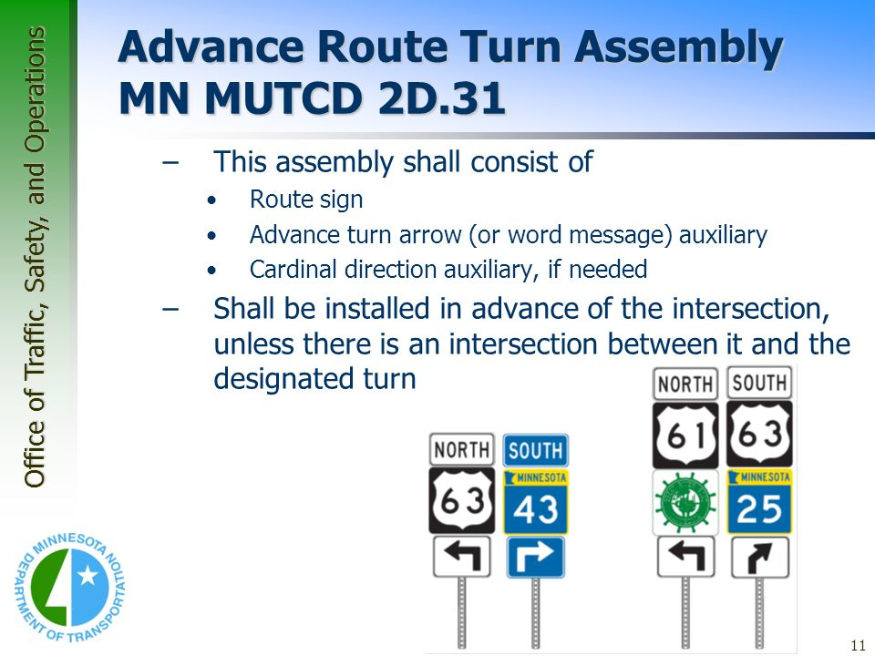 Advance Route Turn Assembly MN MUTCD 2D.31