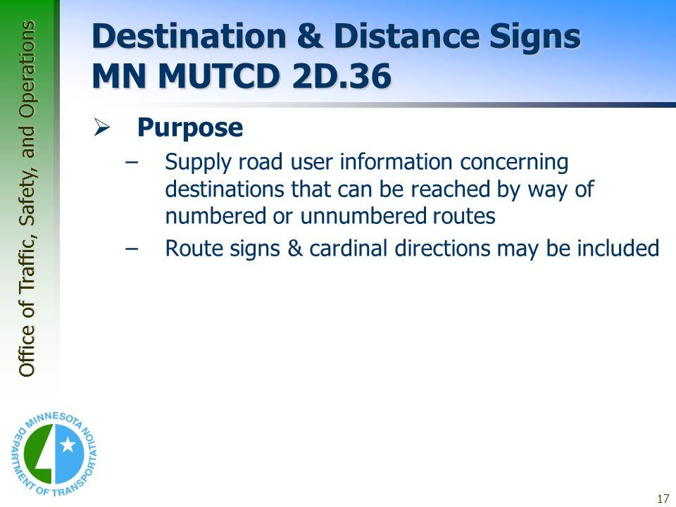 Destination & Distance Signs MN MUTCD 2D.36