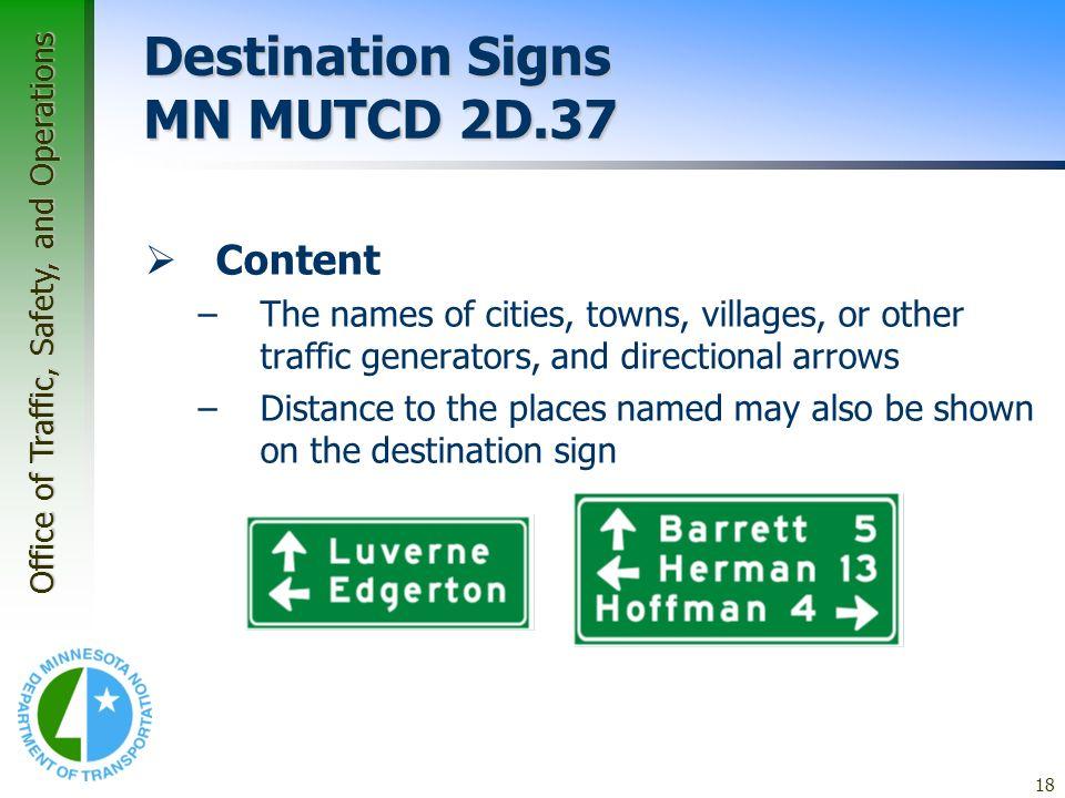 Destination Signs MN MUTCD 2D.37