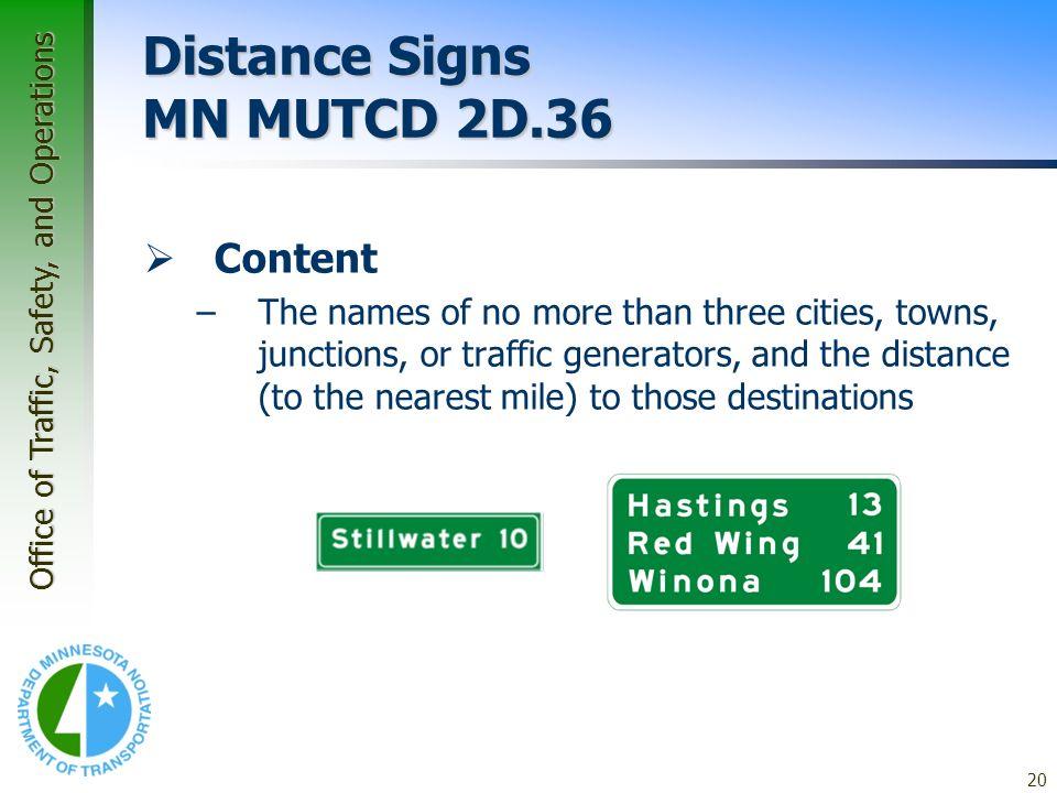 Distance Signs MN MUTCD 2D.36
