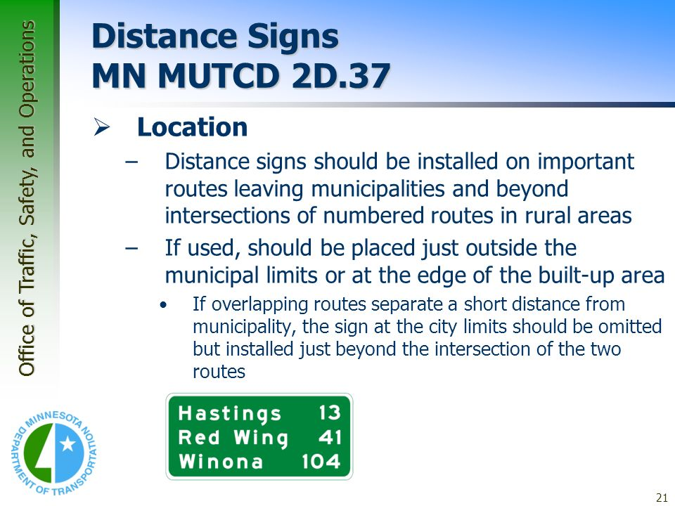 Distance Signs MN MUTCD 2D.37