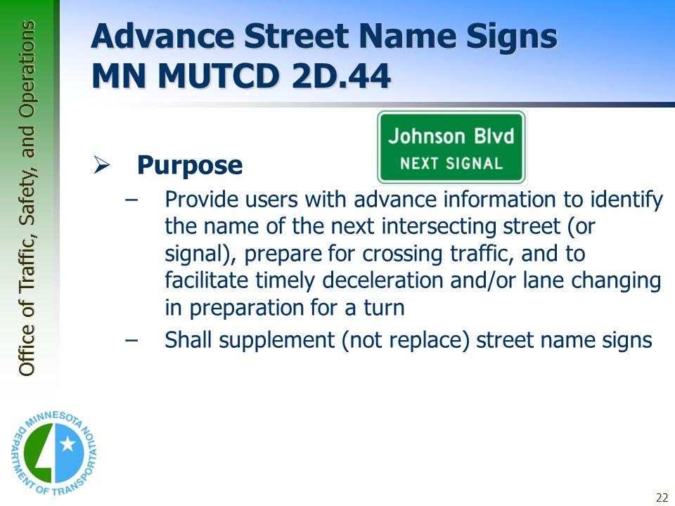 Advance Street Name Signs MN MUTCD 2D.44