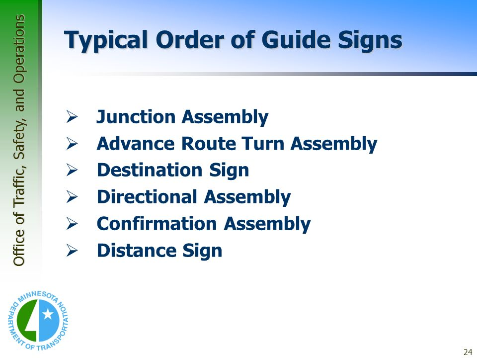 Typical Order of Guide Signs
