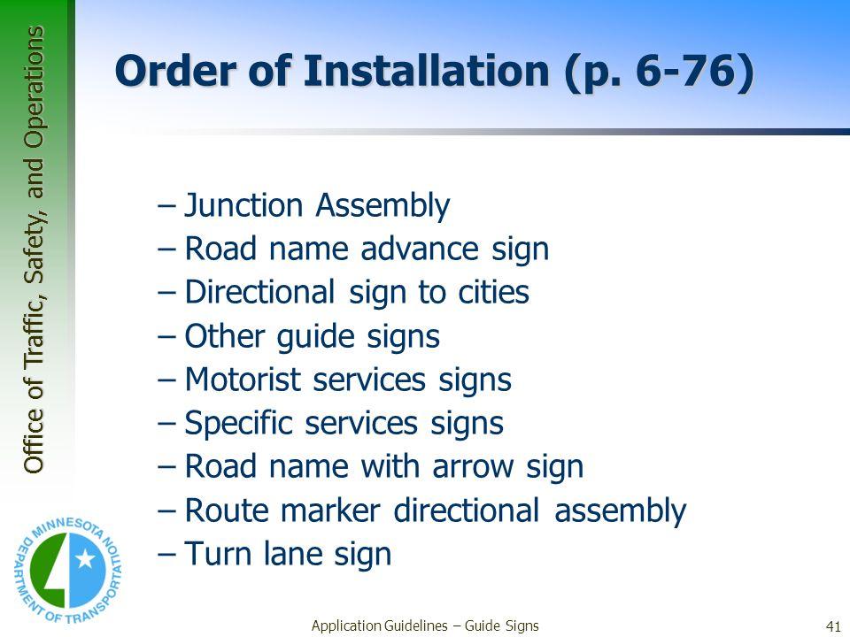 Order of Installation (p. 6-76)
