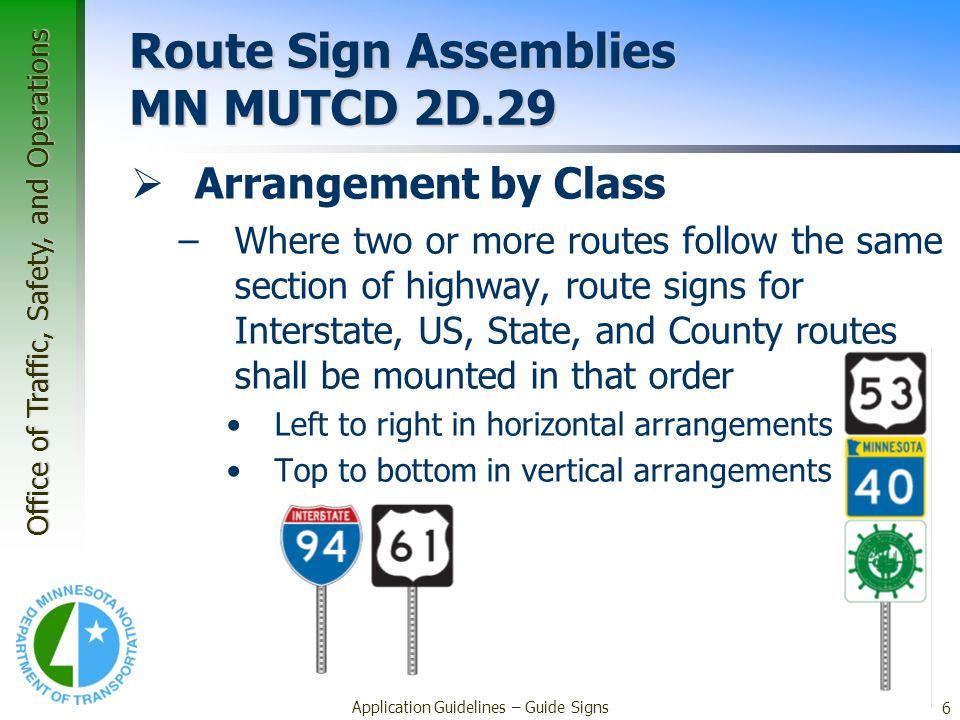 Route Sign Assemblies MN MUTCD 2D.29