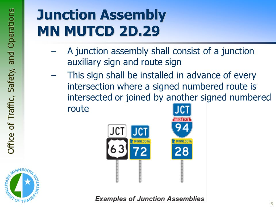 Junction Assembly MN MUTCD 2D.29