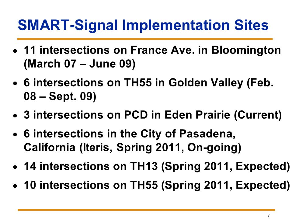 SMART-Signal Implementation Sites