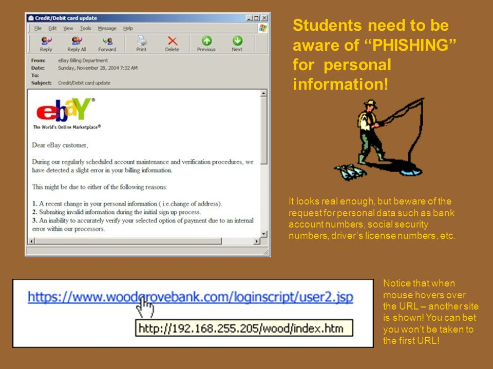Students need to be aware of PHISHING for personal information!
