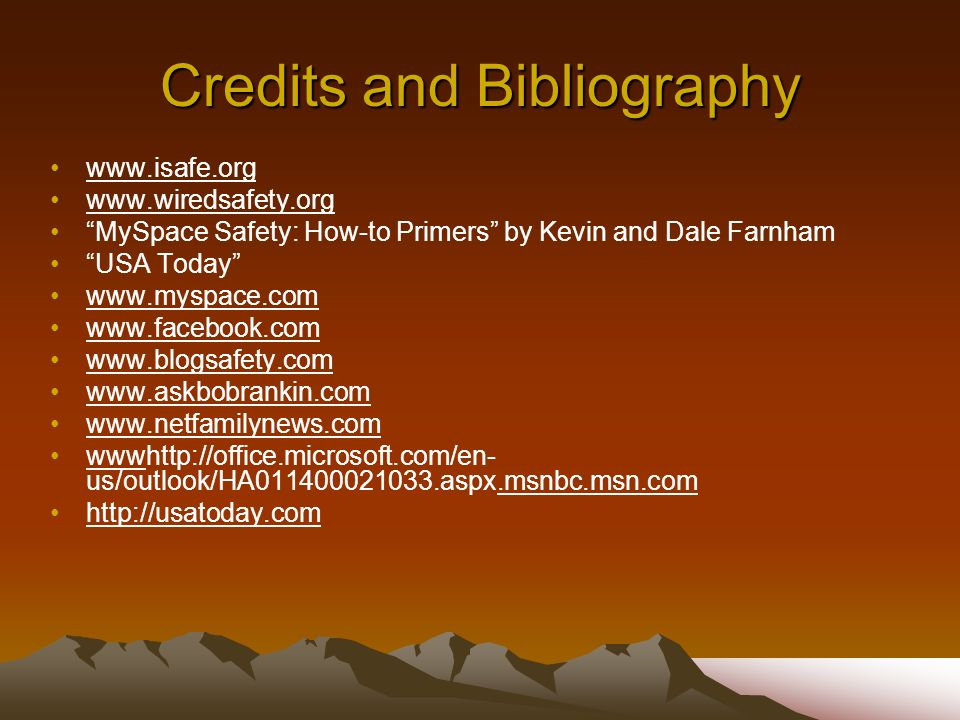 Credits and Bibliography