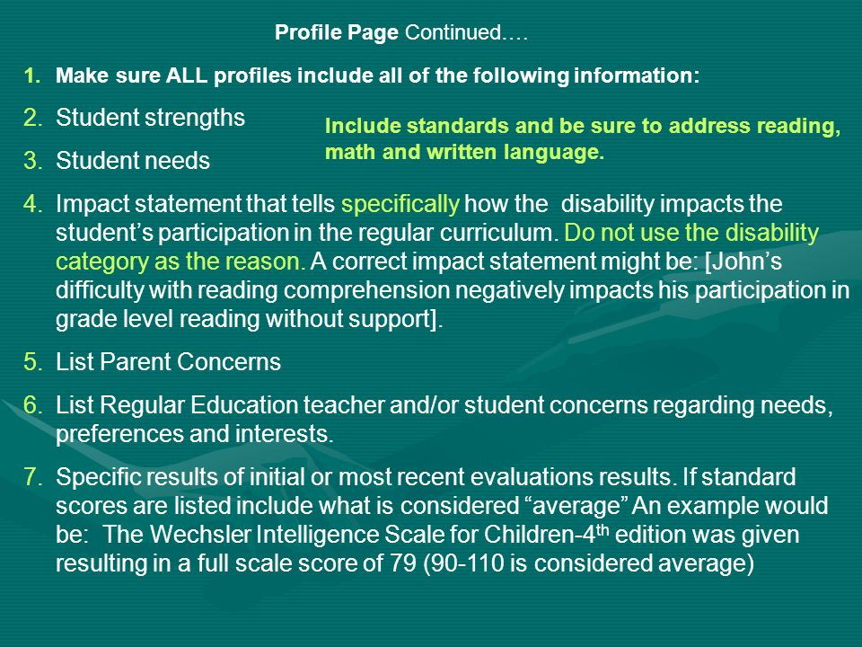 Student strengths Student needs