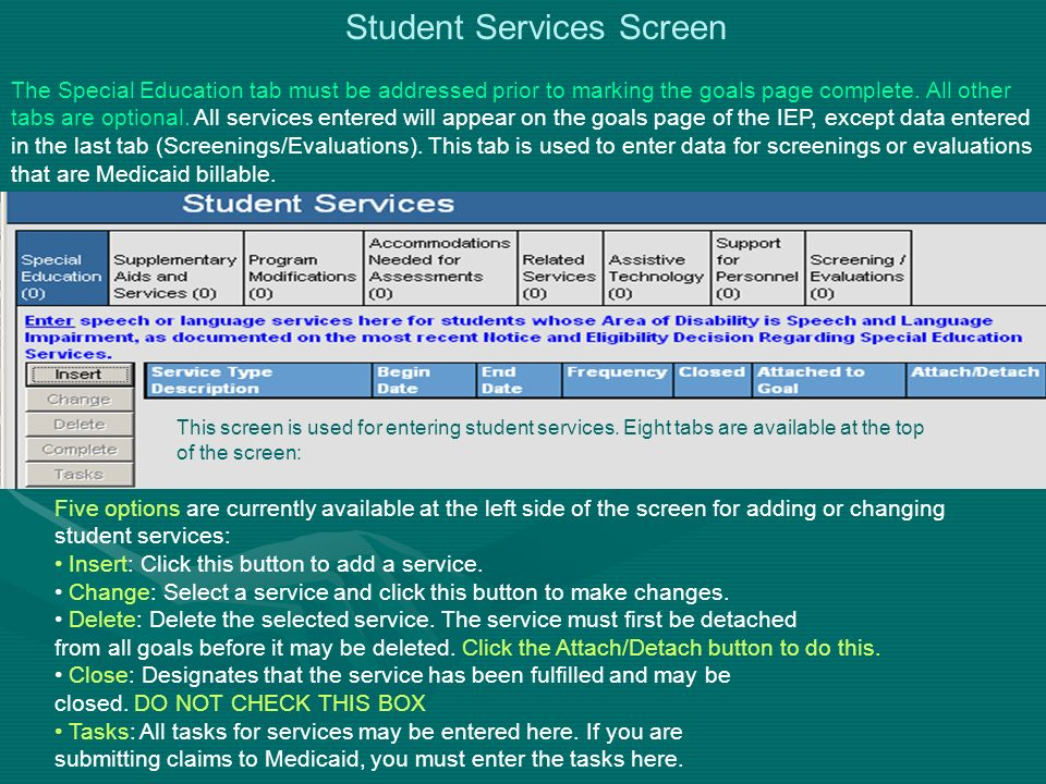 Student Services Screen