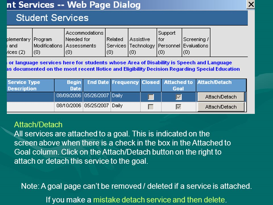 Note: A goal page can't be removed / deleted if a service is attached.