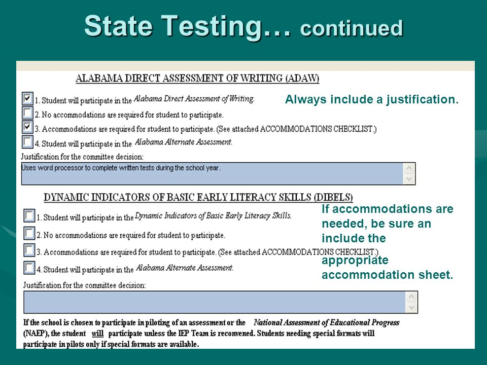 State Testing… continued