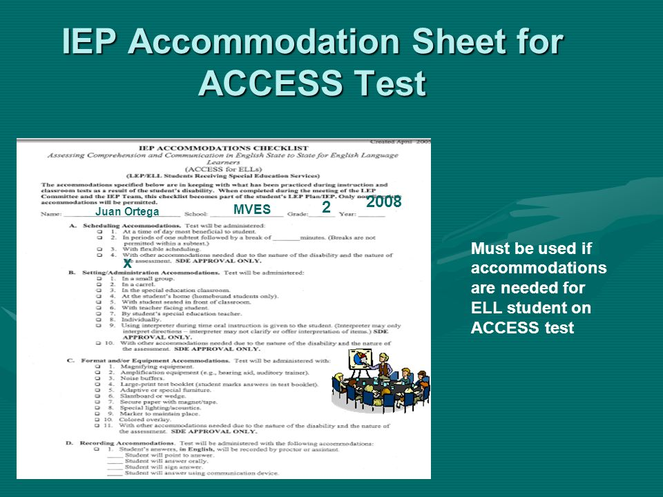 IEP Accommodation Sheet for ACCESS Test