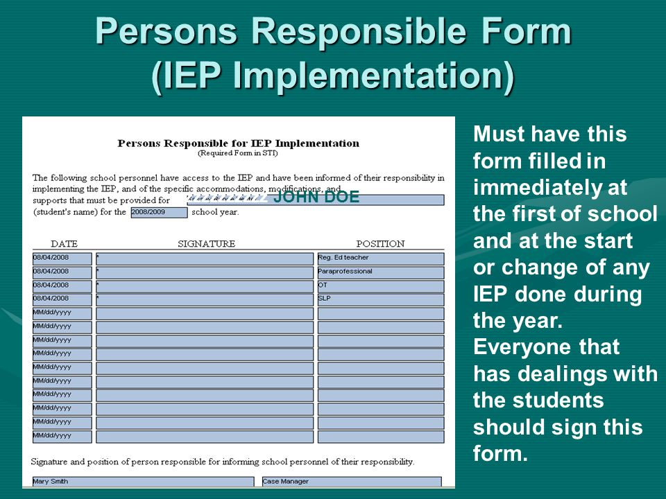 Persons Responsible Form (IEP Implementation)
