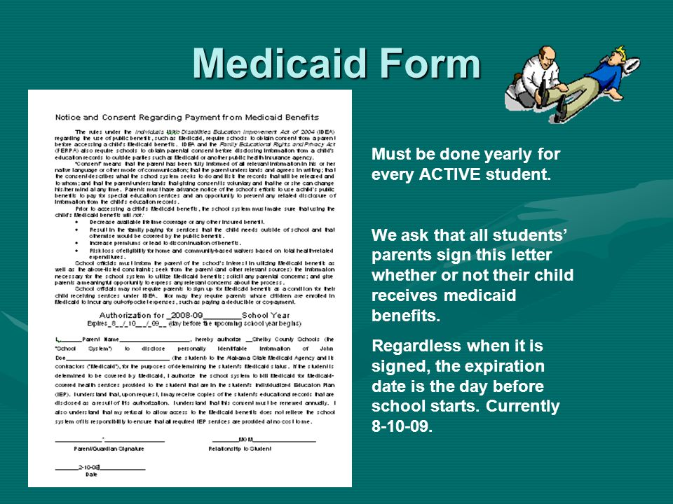 Medicaid Form Must be done yearly for every ACTIVE student.