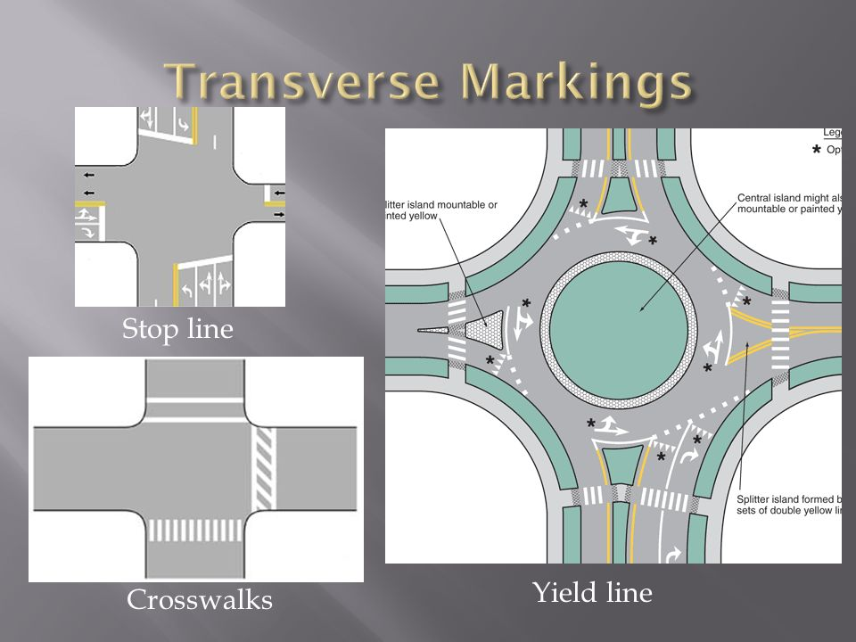 Transverse Markings Stop line Yield line Crosswalks