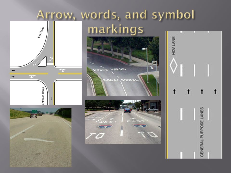 Arrow, words, and symbol markings
