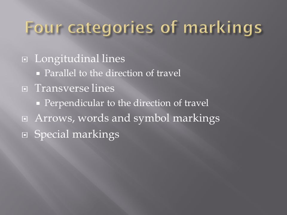 Four categories of markings