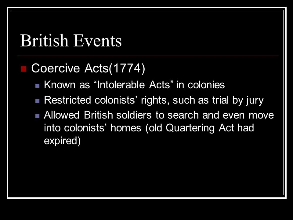British Events Coercive Acts(1774)