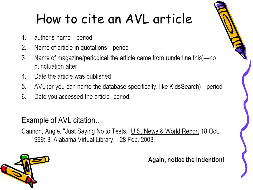 How to cite an AVL article