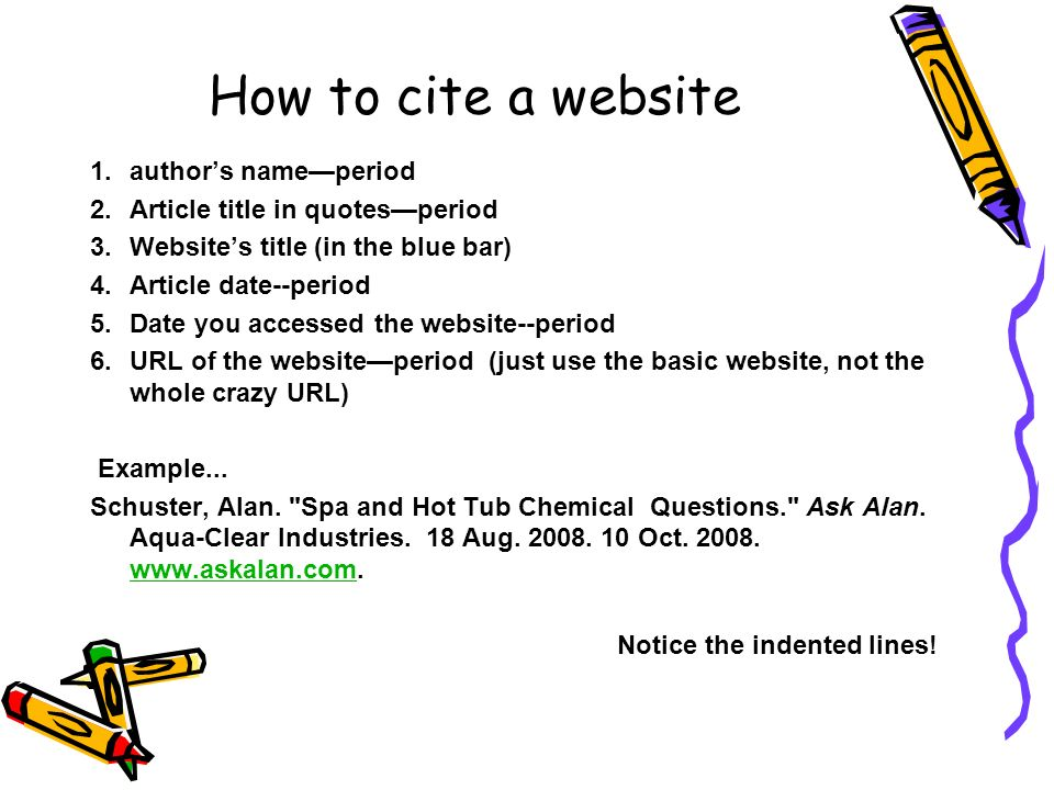 Citing website sources in a research paper
