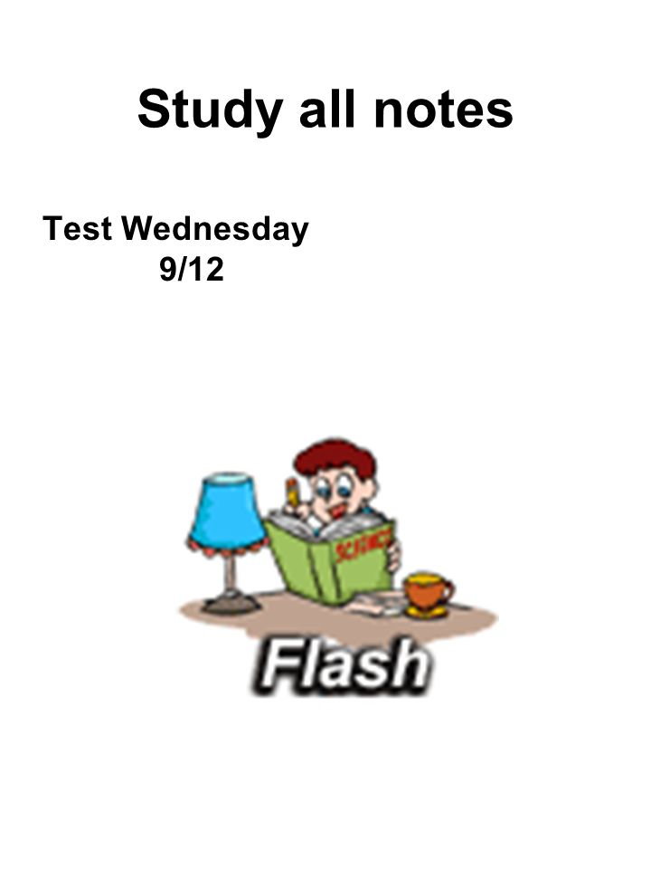 Study all notes Test Wednesday 9/12