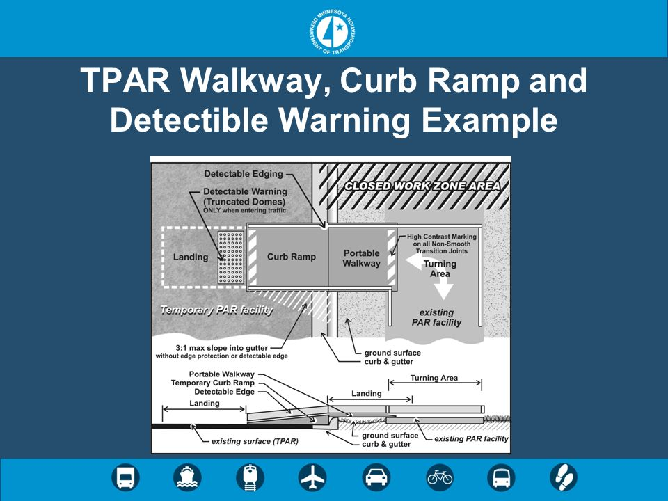 TPAR Walkway, Curb Ramp and Detectible Warning Example
