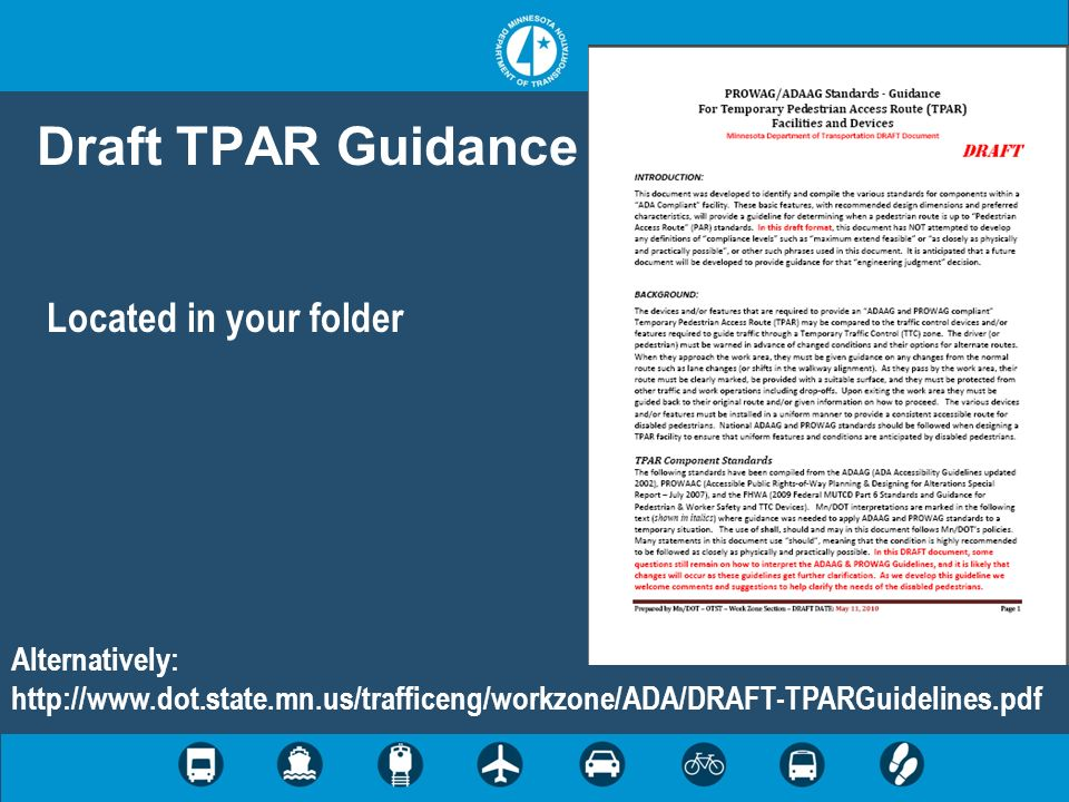 Draft TPAR Guidance Located in your folder Alternatively: