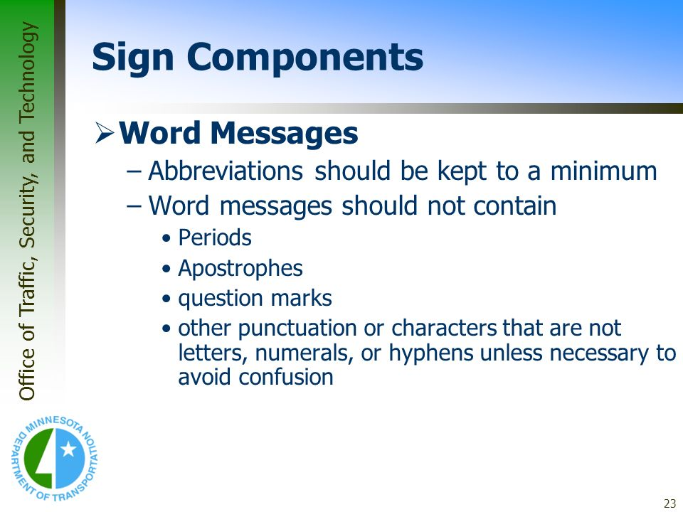 Sign Components Word Messages