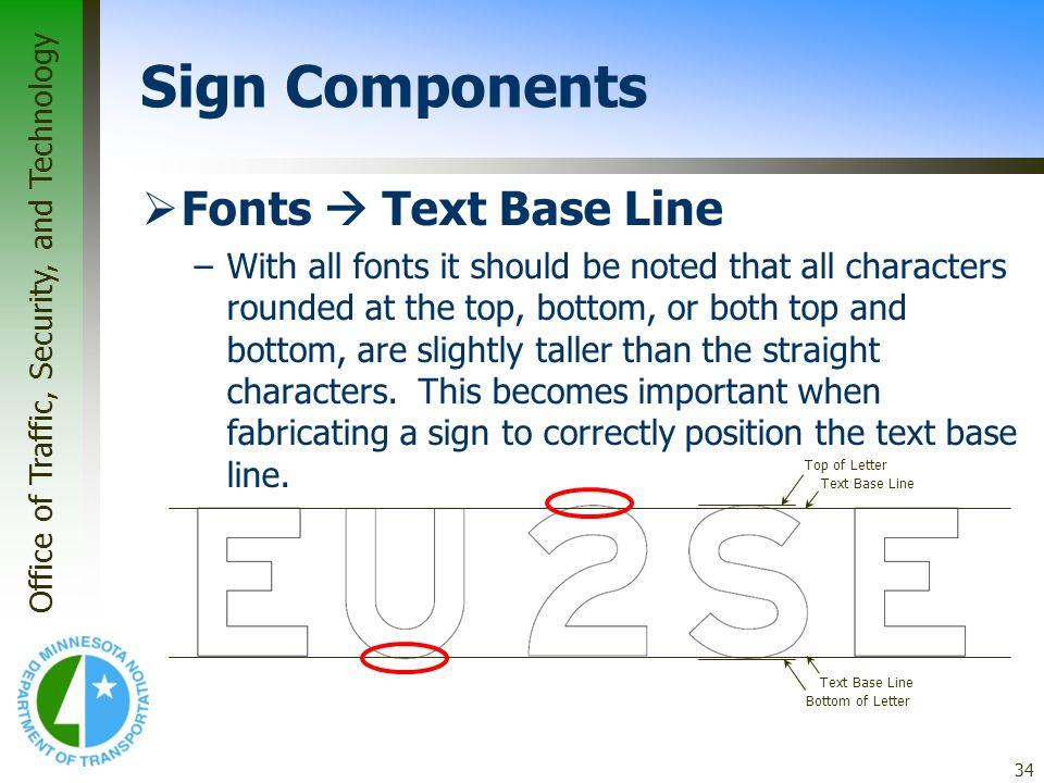 Sign Components Fonts  Text Base Line