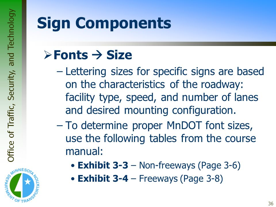 Sign Components Fonts  Size