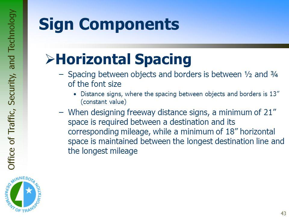 Sign Components Horizontal Spacing