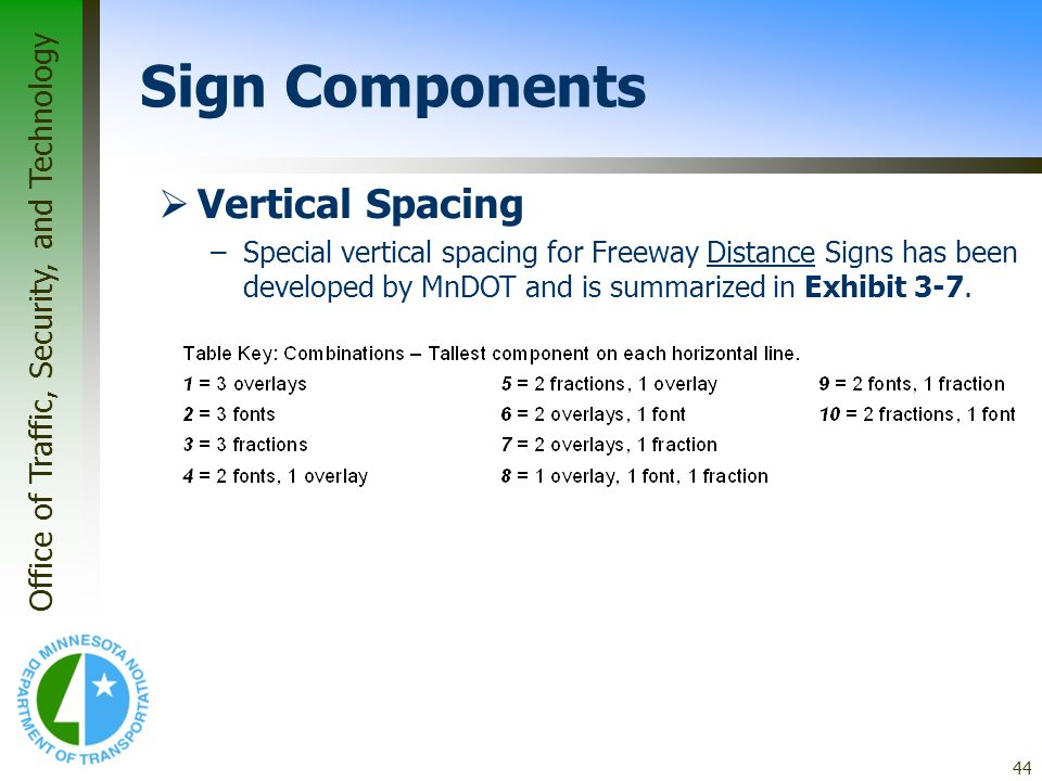 Sign Components Vertical Spacing