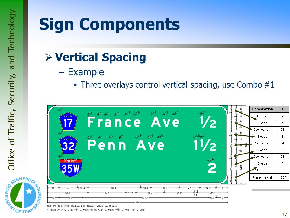 Sign Components Vertical Spacing Example