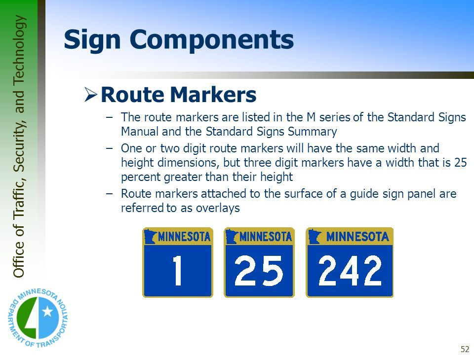 Sign Components Route Markers