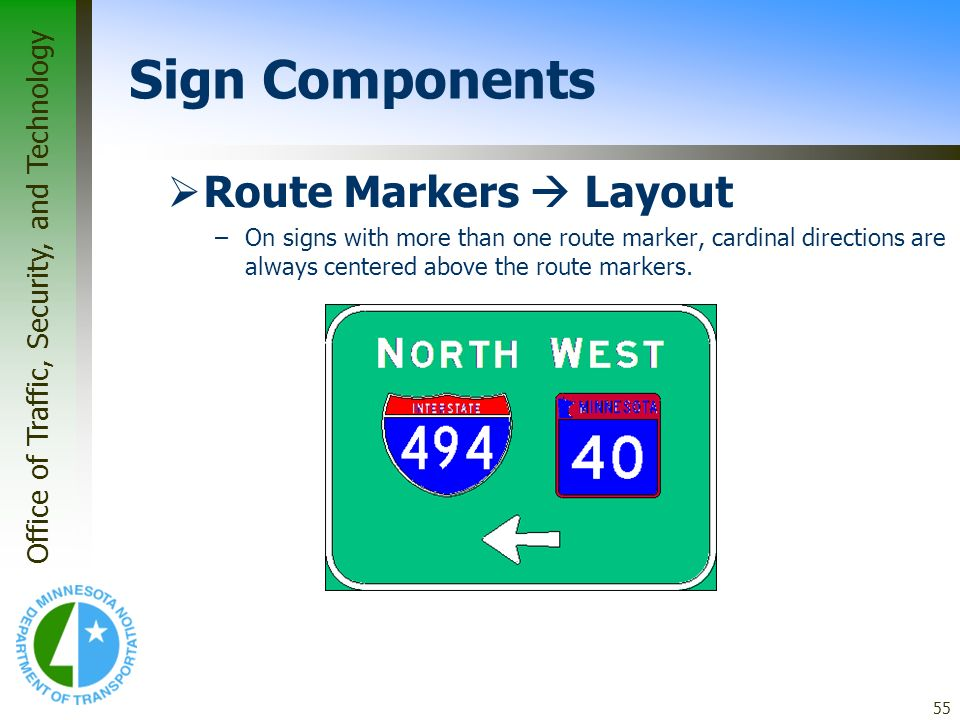 Sign Components Route Markers  Layout