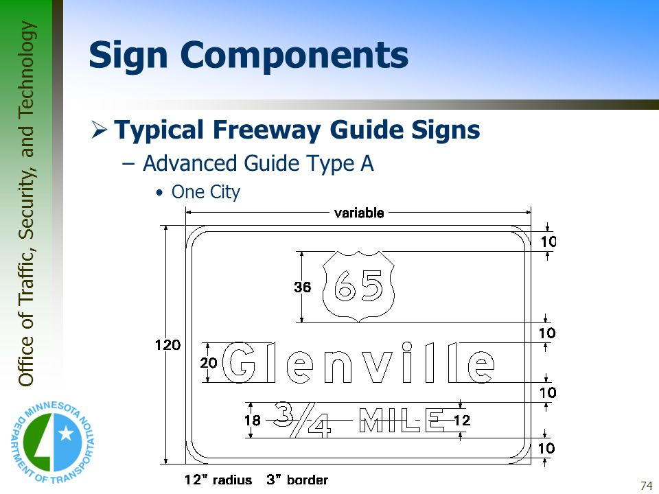Sign Components Typical Freeway Guide Signs Advanced Guide Type A