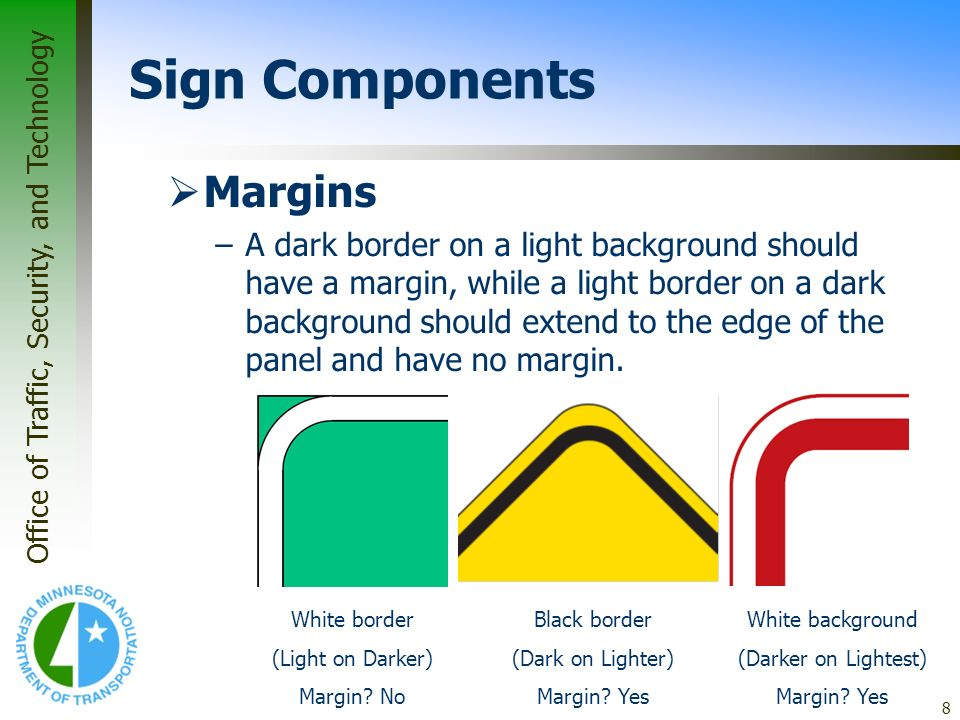 Sign Components Margins