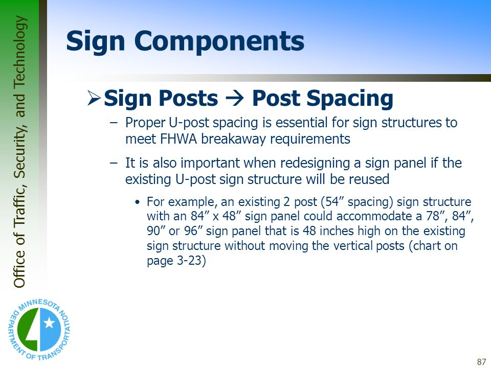 Sign Components Sign Posts  Post Spacing