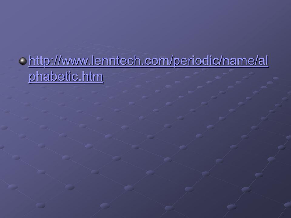 http://www.lenntech.com/periodic/name/alphabetic.htm
