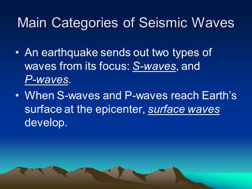 Main Categories of Seismic Waves