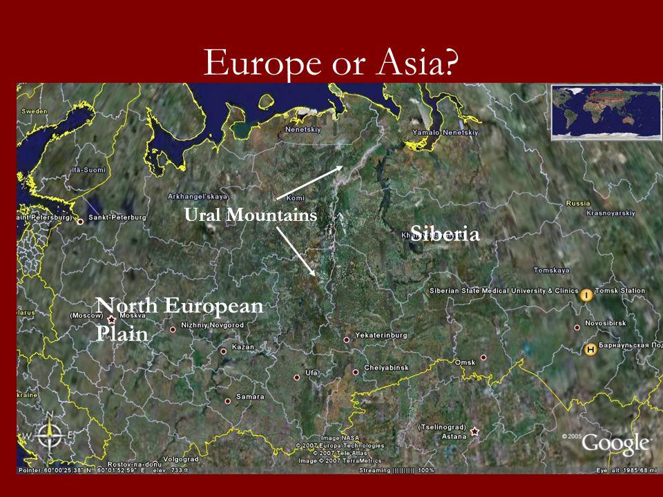 Europe or Asia Ural Mountains Siberia North European Plain