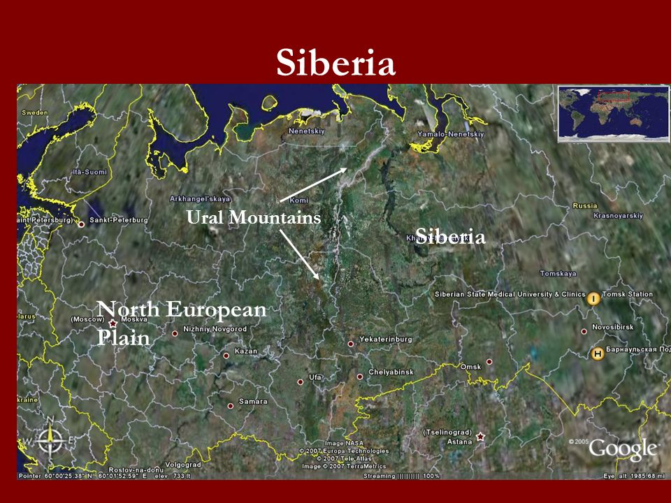 Siberia Ural Mountains Siberia North European Plain