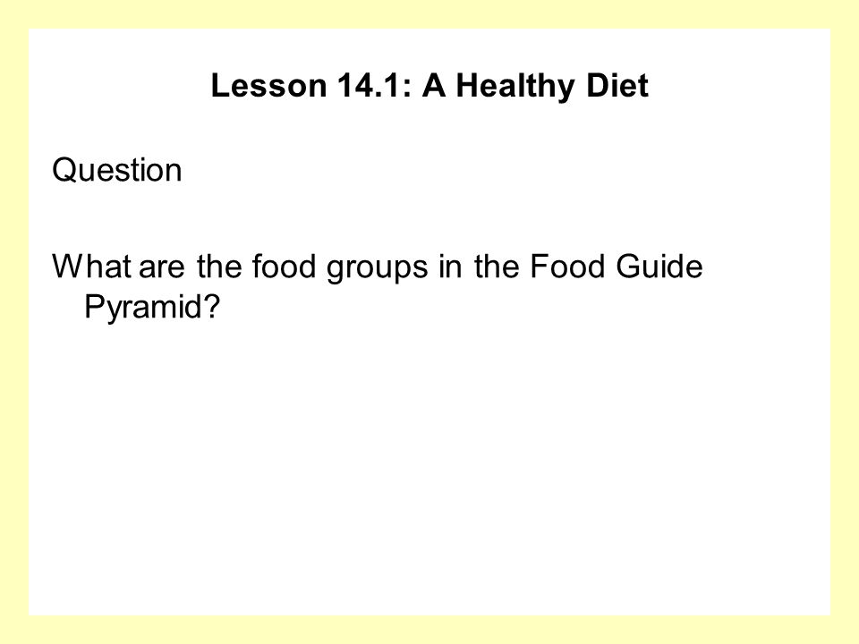 Lesson 14.1: A Healthy Diet Question What are the food groups in the Food Guide Pyramid