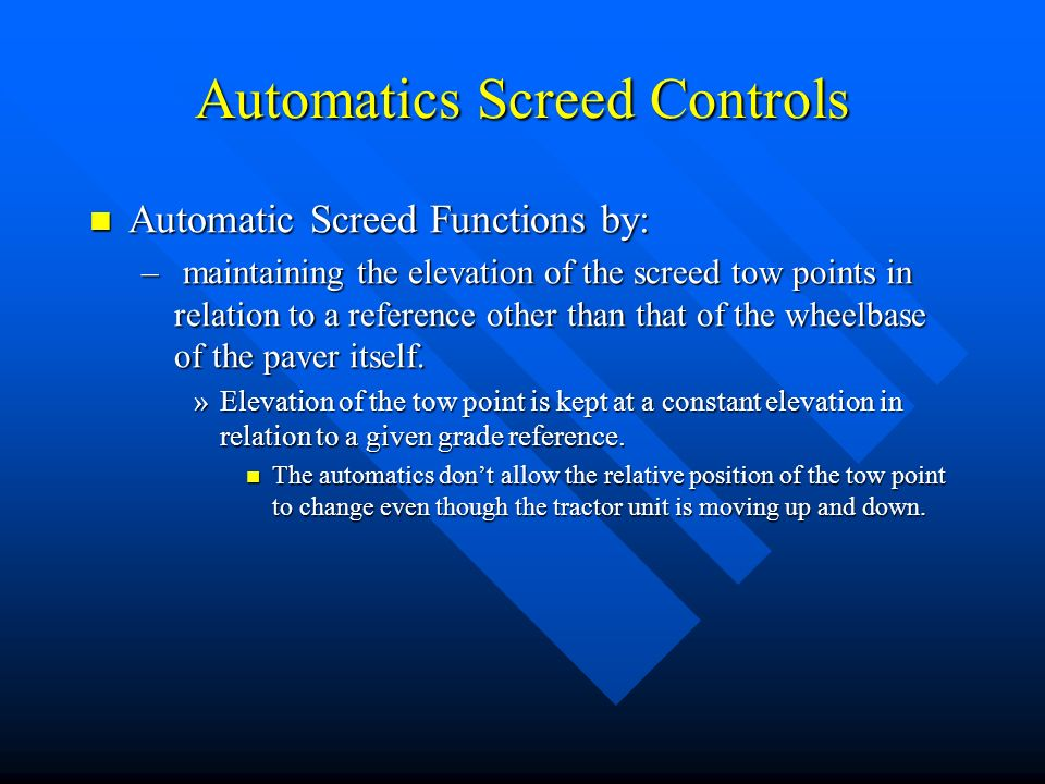 Automatics Screed Controls