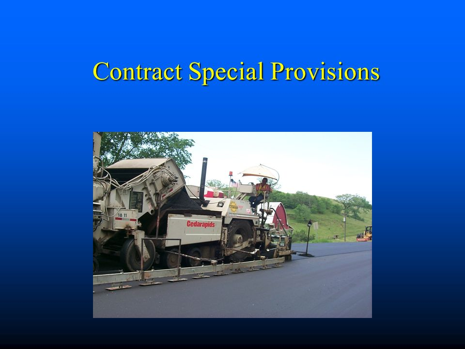 Contract Special Provisions