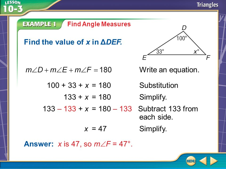 Find the value of x in ΔDEF.