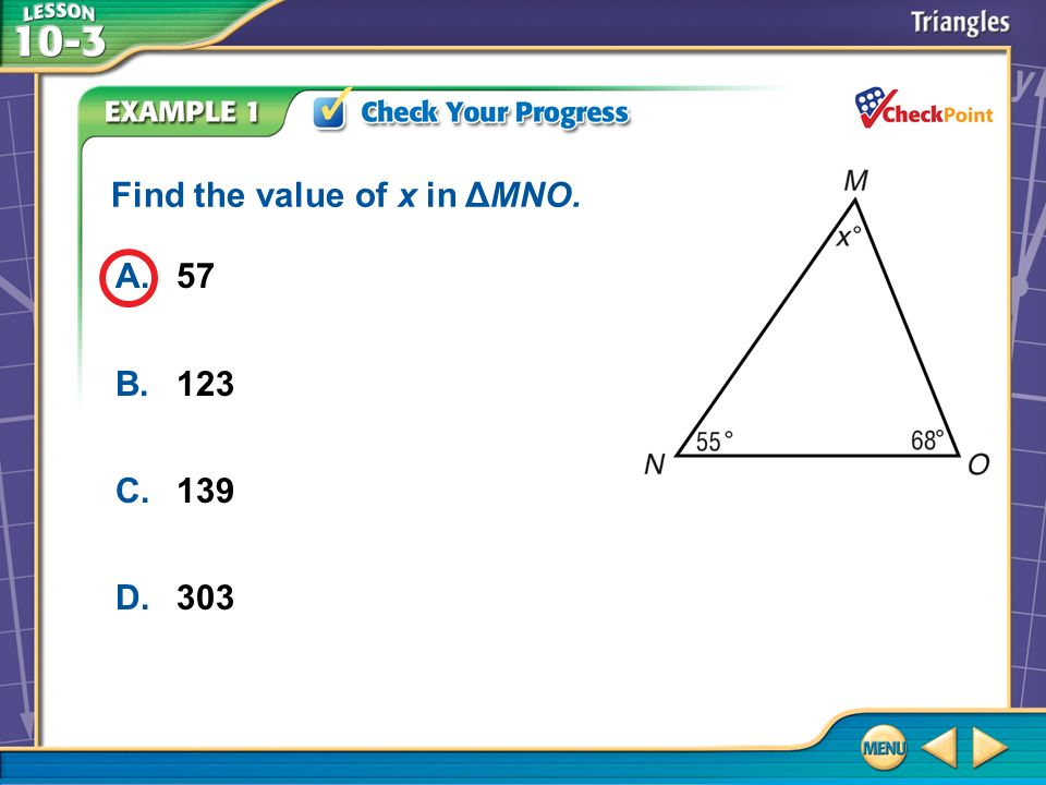 Find the value of x in ΔMNO.
